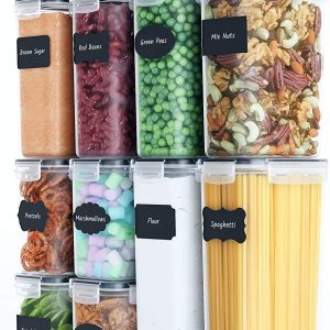 stackable rectangular canister set with pasta and other food contents
