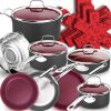 black pot and skillet set with accent plum colored lids
