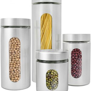 silver colored cylinder shaped canisters with oval see through slits