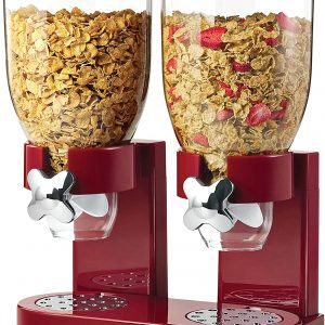 red and chrome two side by side counter dispensers with cereal