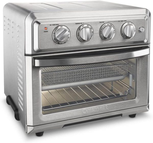silver cuisinart convection toaster oven and air fryer with controls above oven door