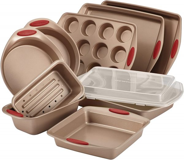 bronzed color bakeware set with red accent handles