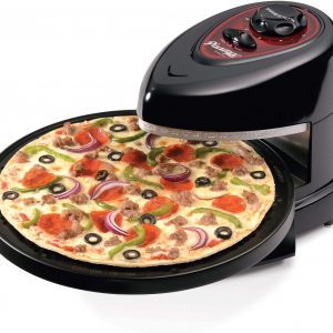 pizza is on the rotating extension as it is cooked