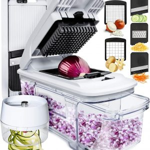 acrylic container with blade/chopper compartment on top; featured blade variations pictured with food being chopped, spiraled or grated