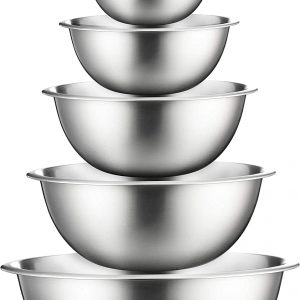 6 stacked stainless bowls from smallest to largest