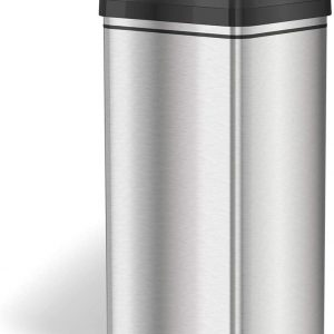 stainless steel trash can with black top