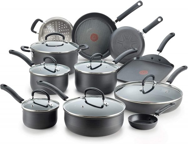 Black anodized cookware; pots and skillets with lids