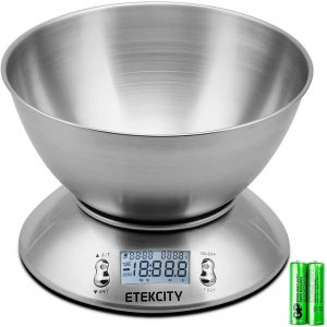 silver stainless steel food scale with LED readout