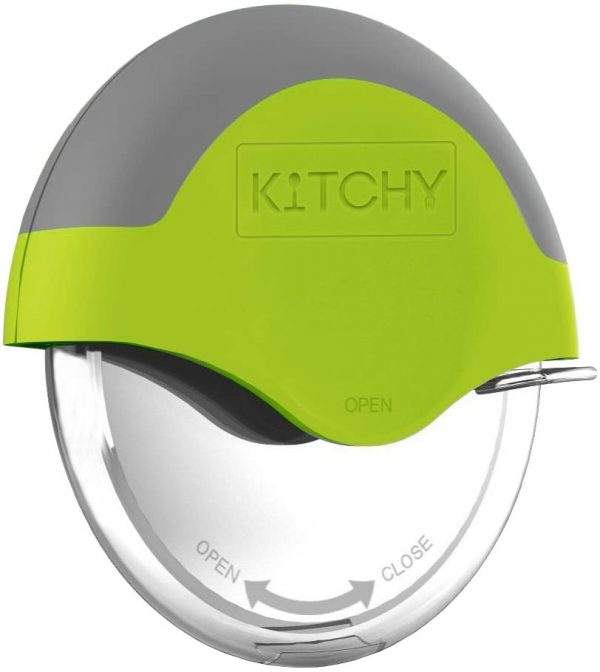 hand held Kitchy Pizza cutter wheel with lime green silicon top