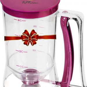 clear cylinder shaped dispenser with plum colored top and handle and measurement on the side