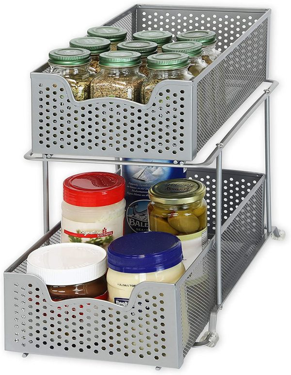grey two tier sliding cabinet basket or storage and organization